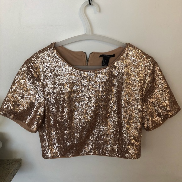 1b66d48f95 Forever 21 Tops - Rose Gold Sequin Crop Top